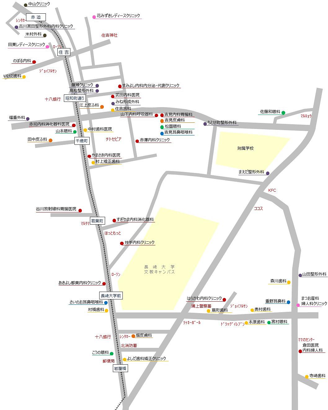 文教キャンパス周辺の医療機関マップ