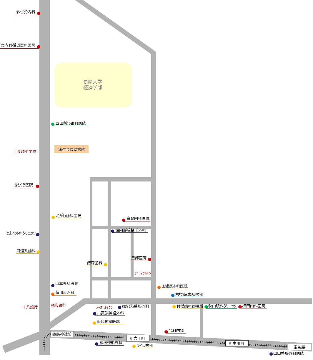 片淵キャンパス周辺の医療機関マップ